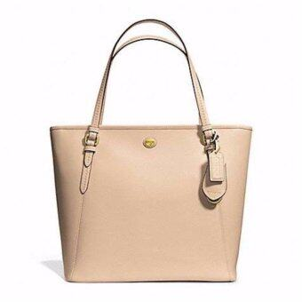 Harga COACH 27349 PEYTON LEATHER ZIP TOP TOTE HANDBAG TAN