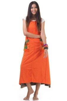 Princess of Asia ชุดเดรสยาวผูกเอว เดรสผ้าฝ้ายปะดอกไม้ (สีส้ม)