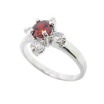 Tangems แหวนดอกไม้ประดับเพชรและพลอยสีโกเมน รุ่น 1060 (ทองคำขาว/โกเมน/เพชร)