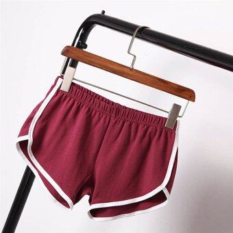 Harga Women Summer Casual Sexy Running Sports Shorts Gym Slim Fitness Yoga Beach Pants Wine Red - intl