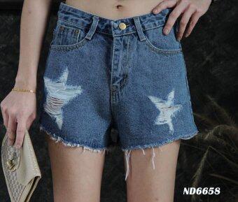 Platinum Fashion กางเกงยีนส์ขาสั้นเอวสูงปกติ แต่งขาด รุ่นMS6658