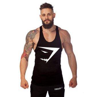 เสื้อบุรุษผ้าเสื้อกล้ามห้องออกกำลังกายพร้อมอุปกรณ์ออกกำลังกายเพาะกายสายแร่น้ำ gymshark กีฬาเสื้อยืดสีดำ