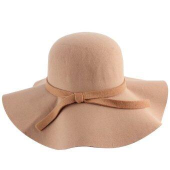 โอนิววินเทจผ้าขนสัตว์นิ่ม ๆ หญิงสาวรู้สึกหมวกปีกหมวกสตรีหมวกปีกกว้างหมวกขี่อูฐ
