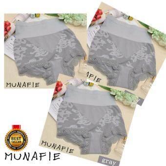 MUNAFIE MODEL 2 กางเกงในเก็บพุงจากญี่ปุ่น กางเกงสเตย์ กางเกงในลดไขมัน (สีเทา)Set 3pcs