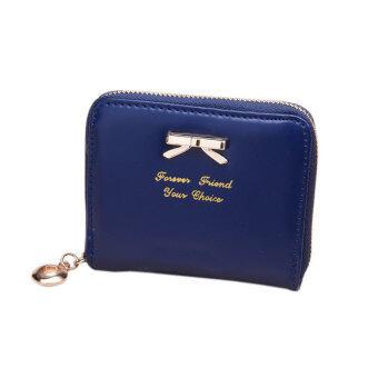 YBC แฟชั่นกระเป๋าสตางค์กระเป๋าถือสตรีหนัง Pu สวยคลัตช์สั้นสีน้ำเงิน