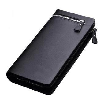 YBC ผู้ชายหลายฟังก์ชันความจุขนาดกระเป๋าถือกระเป๋าสตางค์กระเป๋าถือหนัง Pu มีซิปสีดำ