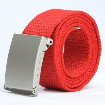 แฟชั่นสตรีและบุรุษเข็มขัดผ้าใบสีลูกกวาด (สีแดง)