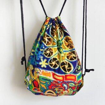 กราฟฟิตีรูปแบบนามธรรมผ้าใบหูรูดกระเป๋าเป้กระเป๋าสะพายท่องเที่ยวฉาบฉวย-ระหว่างประเทศ