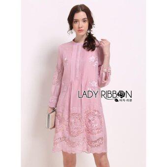 Elisa Thailand เสื้อผ้าแฟชั่นสไตล์เกาหลี Lady Ribbon Lady Fiona Vintage Embroidered Chiffon Dress