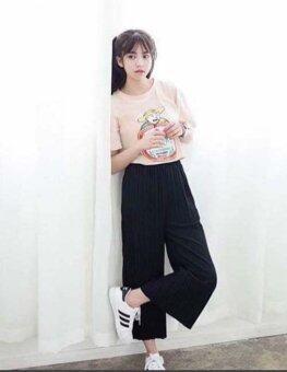 Phorn กางเกงอัดพลีท - สีดำ