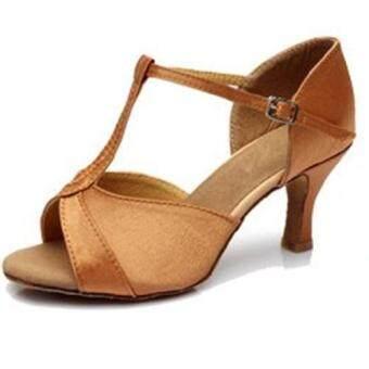 DIKE High Quality Women's Sandals Satin 5.4CM Heel Salsa Ballroom Latin Dance Shoes (รองเท้าส้นสูงผู้หญิง รองเท้าส้นสูง) Brown series 5 - intl