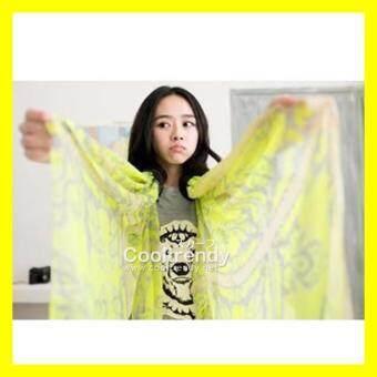 YGB ผ้าพันคอ ผ้าพันคอแฟชั่น ผ้าพันคอเกาหลี ผ้าคลุมไหล่ ผ้าพันคอลายวินเทจ Vintage สีเขียวเหลือง