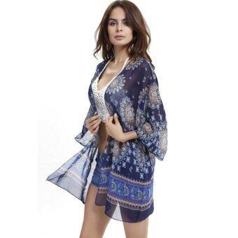 สตรีเสื้อและเสื้อกิโมโนพิมพ์ Boho พิมพ์เสื้อประจำเผ่าเสื้อผ้าชายหาดสีน้ำเงิน