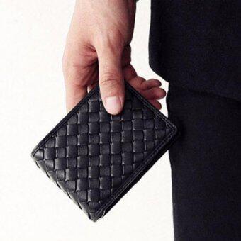 Osaka กระเป๋าสตางค์แบบหนัง PU ลายถัก แบบหนีบแบงค์ รุ่น NG367 - สีดำ
