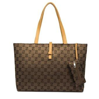 Leegoal สตรีกระเป๋าถือกระเป๋าสะพายกระเป๋าไนลอนมีซิปสำหรับช็อปปิ้ง สีน้ำตาล