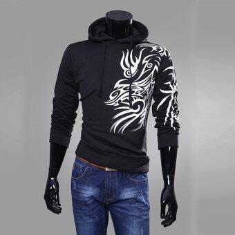 คนชุ่มเสื้อแจ็คเก็ตมีฮู้ดจ็อกกิงแฟชั่นการพิมพ์รั้วสีดำ