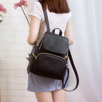 Little Bag กระเป๋าเป้สะพายหลัง กระเป๋าเป้เกาหลี กระเป๋าสะพายหลังผู้หญิง backpack women รุ่น LP-131 (สีดำ)