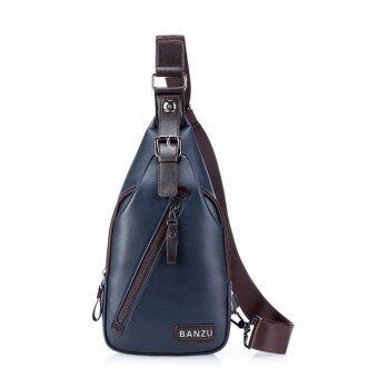 คนกระเป๋าซิปใส่หีบหนัง pu สารกระเป๋าสะพายสีน้ำเงิน-ระหว่างประเทศ