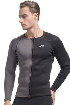3มมแขนเสื้อยาวฤดูร้อนเว็ทสูทเทียมคนดำน้ำสน็อกเกิ้ลเปียก Spearfishing เสื้อสูทชุดว่ายน้ำ-สีดำ