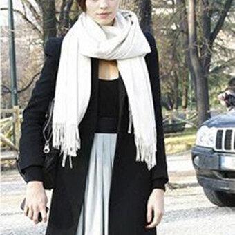 ผ้าพันคอสตรี Pashmina ผ้าคลุมไหล่แคชเมียร์ห่อผ้าหนา 70ซม X 170ซมขาว