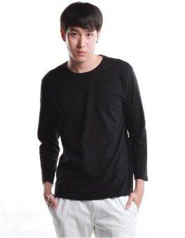 SimpleArea Premium cotton T-shirts เสื้อยืดคอกลมแขนยาว - Black