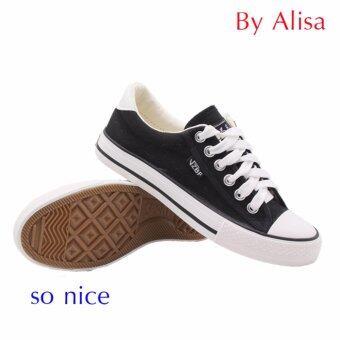 Alisa Shoes รองเท้าผ้าใบสปอร์ต รุ่น A888 Black