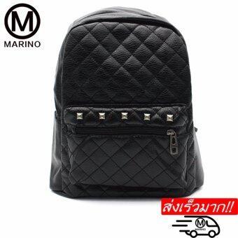 Marino กระเป๋ากระเป๋าเป้สะพายหลังสีดำ กระเป๋าหนัง PUNo.0223 - Black