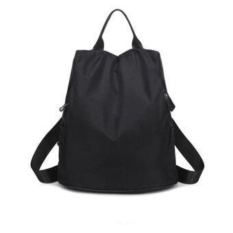 Marverlous กระเป๋าเป้สะพายหลัง กระเป๋าเป้เกาหลี กระเป๋าสะพายหลังผู้หญิง Nylon Waterproof Backpack No.0204-สีดำ
