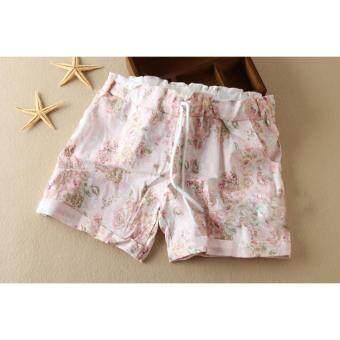 กางเกงขาสั้นพิมพ์ลายดอกไม้ (สีโอรส-เชือกผูก)