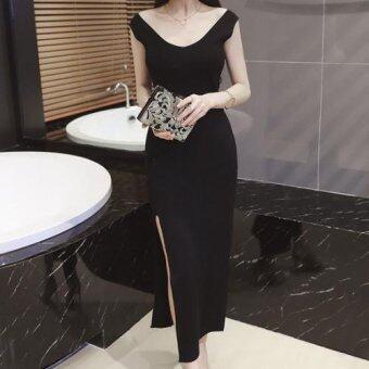 Dolly เดรสตัวยาว ผ้ายืด คอวีผ่าข้าง แบบเรียบ (สีดำ) รุ่น9258