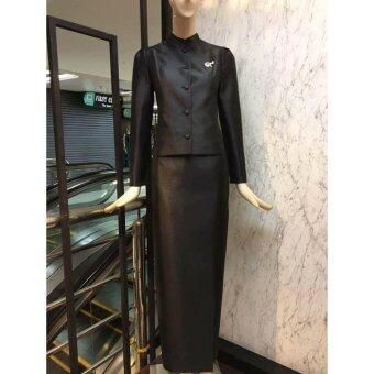 Dokpikul-ชุดผ้าไหมไทยจิตรลดา ชุดงานบวช งานมงคล งานแต่ง ไทยจิตรลดา บ่าเรียบ หรู ดูดีสุดๆ - สีดำ