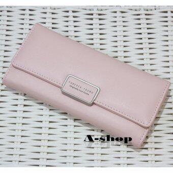 A-shop กระเป๋าเงิน กระเป๋าหนัง กระเป๋าสตางค์ สตรี ใบยาว สไตล์เกาหลี ForeverYoung-8M252LPink
