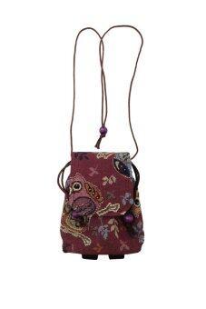 OOY SHOP กระเป๋า Handmade สะพายไหล่ กระเป๋าใส่มือถือ กระเป๋าใบจิ๋ว สไตล์ชาวเขา สีเลือดหมูมีลาย