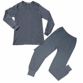Peimm Modello Extra Size ชุดชั้นใน ชุดนอน ชุดกันหนาว เสื้อแขนยาว+กางเกงขายาว 100% Cotton ขนาดใหญ่พิเศษ (สีเทาเข้ม)