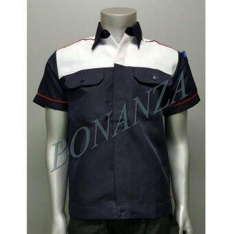 เสื้อคลุม ยูนิฟอร์ม เสื้อเชิ้ต (XL) - สีกรมท่า/ขาว