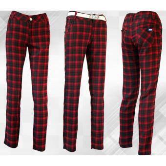 EXCEED กางเกงกอล์ฟสำหรับสุภาพสตรี ลายสก๊อต ( สีแดงดำ ) KUZ008 PGM Lady Golf Pants Red-black