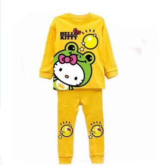 แฟชั่นน่ารักชุดนอนเด็กสาวสวมเสื้อเชิ้ตแขนยาวกางเกงขายาวเสื้อรูปแบบการ์ตูนส่งในสไตล์แบบชุดนอน