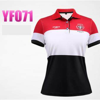 EXCEED เสื้อกอล์ฟสุภาพสตรีรุ่นใหม่ล่าสุด YF071 สีขาวแถบแดง Women Golf Shirt Dry Fit Breathable Softextile Golf Polo Shirt Jacket Summer Fashion Short Sleeve Tshirt Fitness Casual Sports ( WHITE-RED )