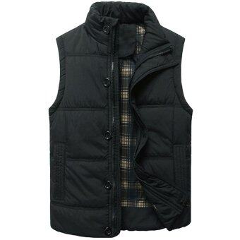 แฟชั่นฤดูใบไม้ร่วงปี 2559 Hequ ลำลองเสื้อปกเสื้อชายเสื้อคอกลมบางบูธคนออกกำลังกายเสื้อกั๊กสีดำ