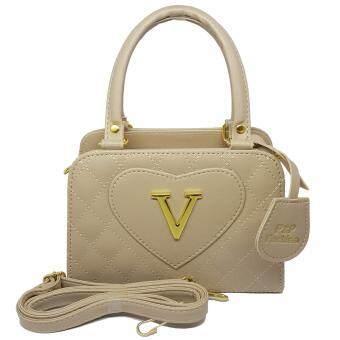 P&P Fashion Women Bag V กระเป๋าถือแฟชั่นพร้อมสะพายข้างขายดี (สีครีม)