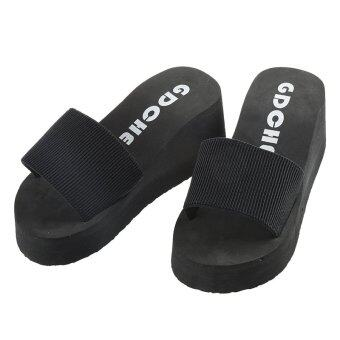 Gracefulvara สตรีรองเท้าแตะรองเท้าลำลองซัมเมอร์บีชกอล์ฟรองเท้าแพลตฟอร์ม Flip Flops (สีดำ)