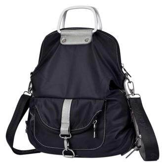 Harga 360WISH Nylon Leisure Fashion Backpack Muti-function Outdoor Backpack Portable Bag Inclined Shoulder Bag - Black - intl