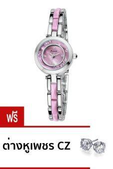 Kimio นาฬิกาข้อมือผู้หญิง สีชมพู สายประดับ รุ่น KW509S-SP04 (แถมต่างหูเพชร CZ BG-E0006-3-CL)