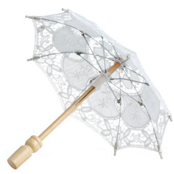 ความร่มร่มปักผ้าสำหรับการตกแต่งงานแต่งงานเจ้าสาว (ขาว)