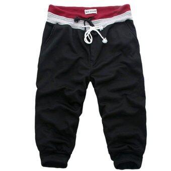 แฟชั่นกางเกงทรงฮาเร็มธรรมดาบุรุษกางเกงผ้าคอตตอนกางเกงกีฬาลีลาศ Soild วิ่งเพ่นพ่านไซส์พิเศษ S-XXL สีดำ