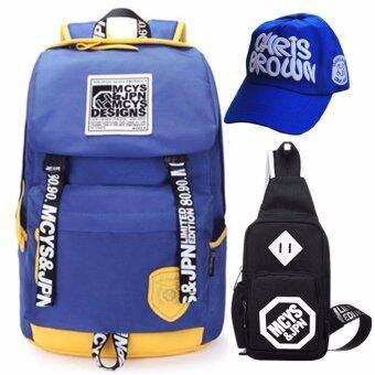 Peimm Modello Value Set Backpack & Shoulder Bag MCYS กระเป๋าเป้สะพายหลัง กันน้ำ+กระเป๋าสะพายพาดลำตัว + หมวก กระเป๋าคาดอก เป้ท่องเที่ยว เป้ใส่โน๊ตบุ๊ค สไตส์เกาหลี (สีน้ำเงิน)