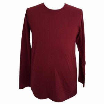 Chahom เสื้อยืดคอกลม แขนยาว สีแดงเลือดหมู