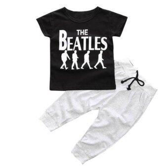 1 ชุดเด็กเด็กเด็กเสื้อยืดเสื้อ+กางเกงขายาวสีดำ