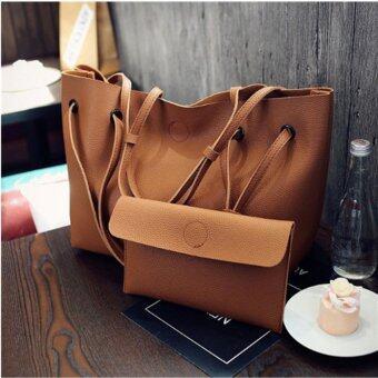 Fire Liions กระเป๋าสะพายแฟชั่นเกาหลี กระเป๋าสตางค์ผู้หญิง กระเป๋าสะพายข้าง เซ็ต2ใบ F-10011(Brown)