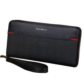 Trusty กระเป๋าสตางค์ใบยาว กระเป๋าใส่เช็คมีซิปรอบ PIDANLU - Black/สีดำ